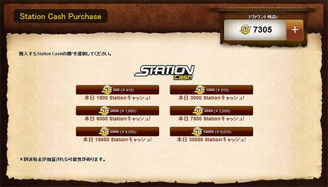 ステーションキャッシュ購入画面